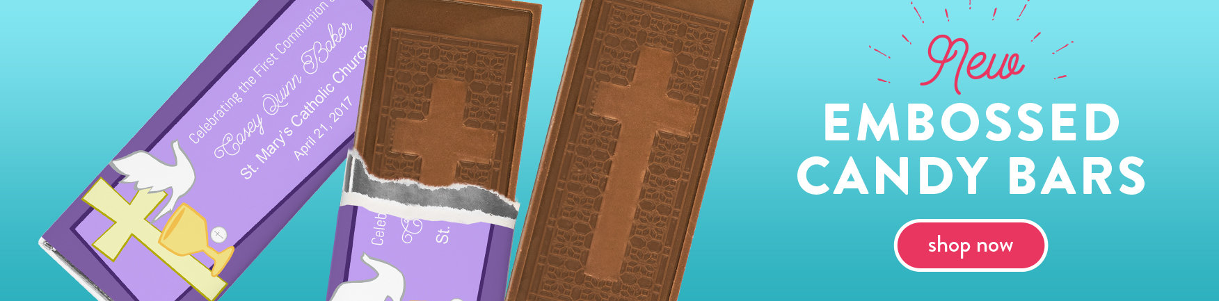 personalized first communion candy bars with cross embossed chocolate bars
