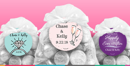 Personalized wedding reception gift tags