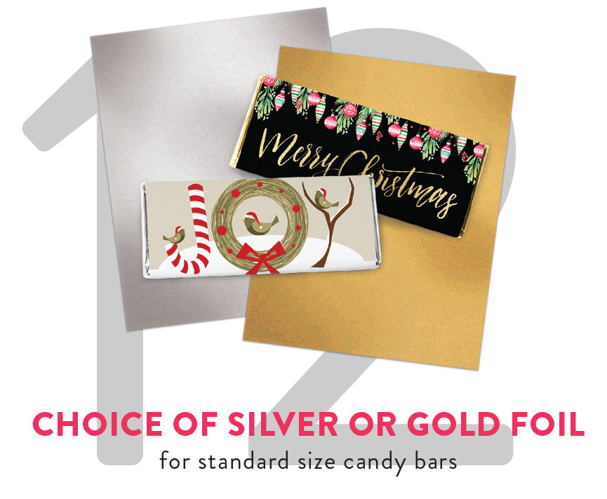 Choose Silver or Gold Foil for Standard Size Candy Bars