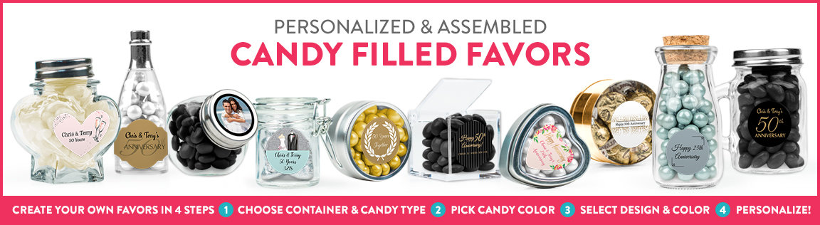 personalized and assembled candy filled favors