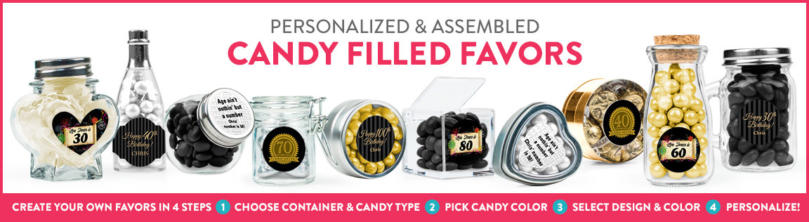 shop personalized candy filled favors for milestone birthdays