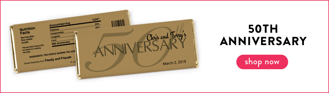 personalized 50th anniversary candy bars