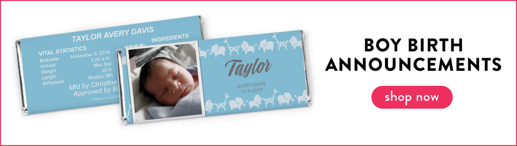 personalized its a boy birth announcement chocolate bars