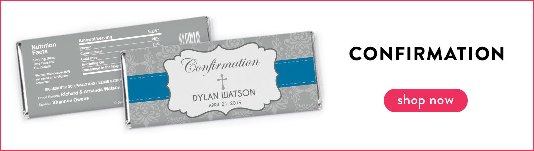 personalized confirmation chocolate bars