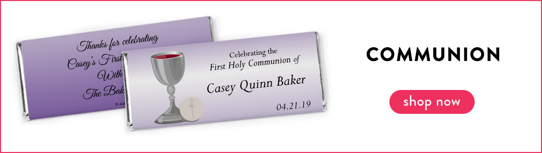personalized communion candy bars