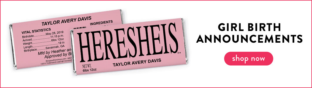 personalized it's a girl birth announcement candy bars