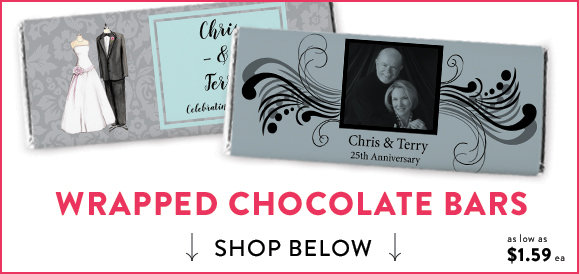 personalized silver 25th anniversary candy bars