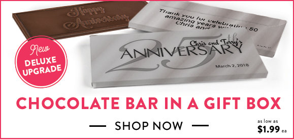 personalized anniversary chocolate bars in a gift box