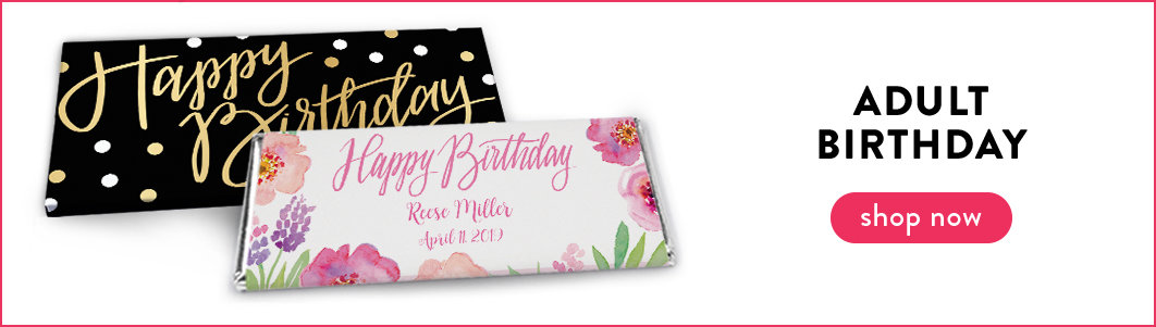 personalized adult birthday candy bar wrappers and boxes