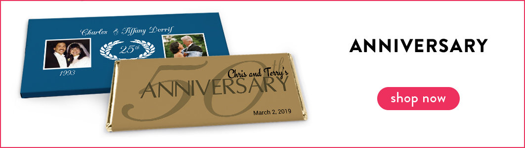 personalized anniversary candy bar wrappers and boxes