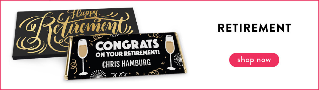 personalized retirement candy bar wrappers and boxes