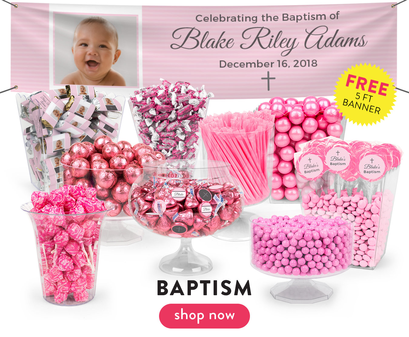 Baptism Party Candy Tables