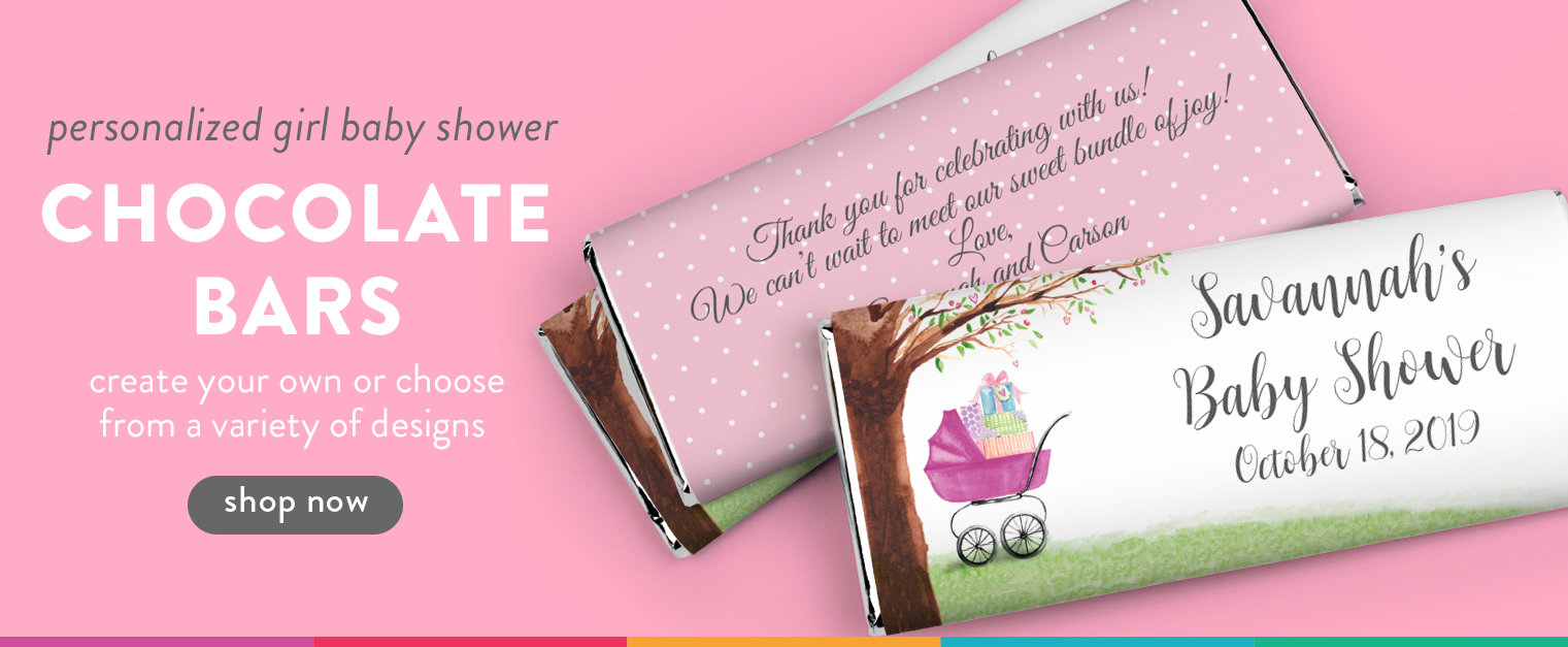 Girl Baby Shower Chocolate Bars