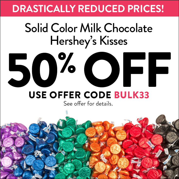 50% off Solid Color Milk Chocolate Hershey's Kisses