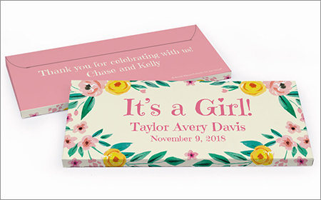 Girl Birth Announcement Personalized Gift Box with Candy Bar