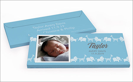 Boy Birth Announcement Personalized Gift Boxes with Candy Bar