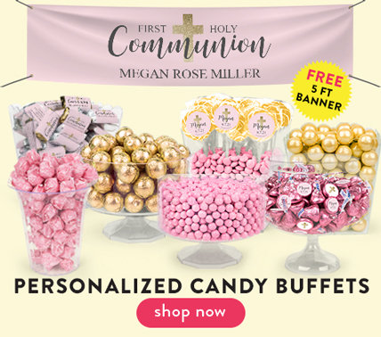 personalized communion candy buffets for girls