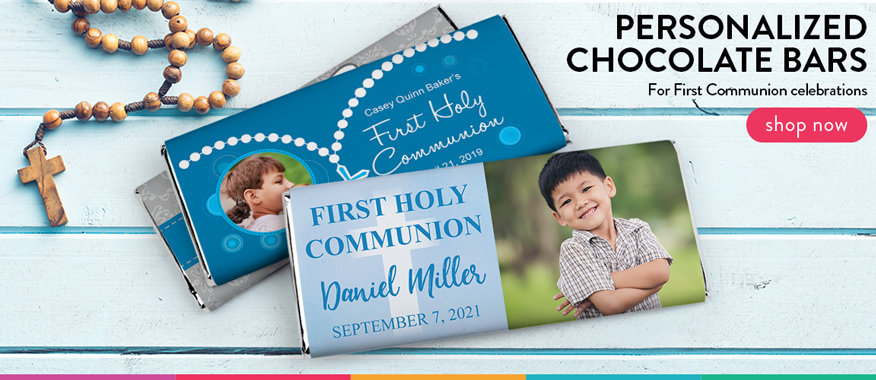 personalized communion chocolate bars for boys