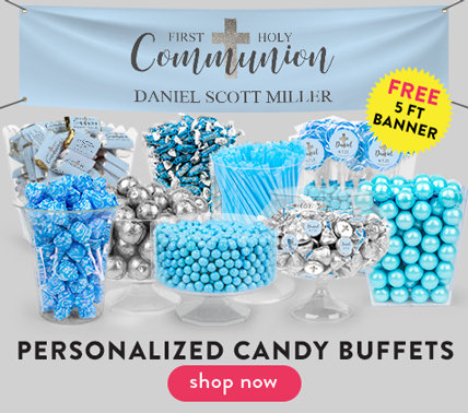 personalized communion candy buffet for boys