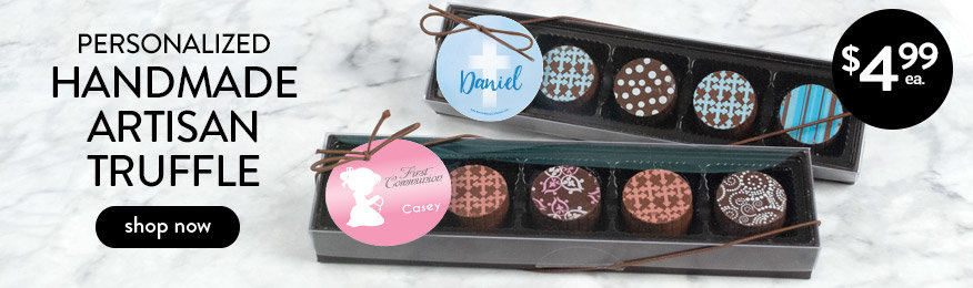 Shop Personalized Communion Truffle Favors
