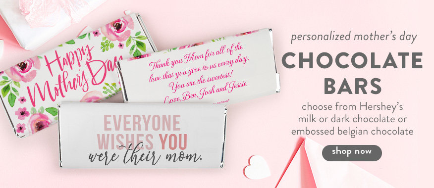 Personalized Floral Mother's Day Candy Bars and Belgian Chocolate Covered Foil Wrapped Oreo Cookie Gifts