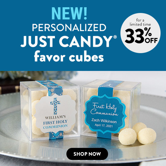Shop Personalized Boy Communion JUST CANDY® cube favors