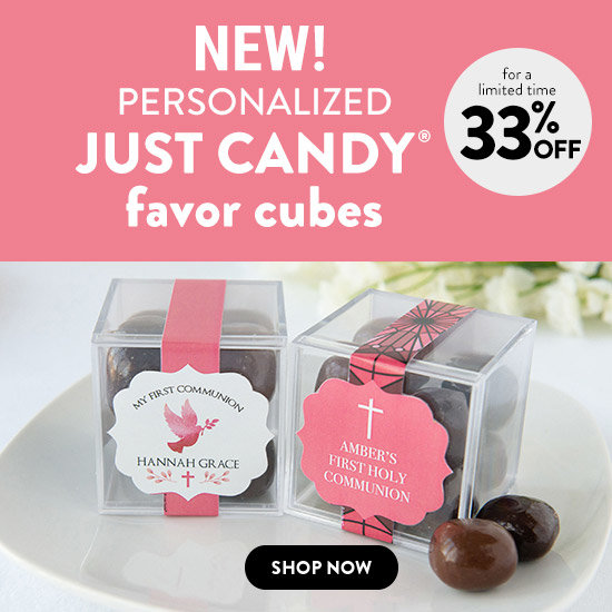 Shop Personalized Girl Communion JUST CANDY® favor cubess