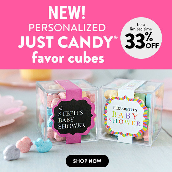 Shop Personalized Baby JUST CANDY favor cubes