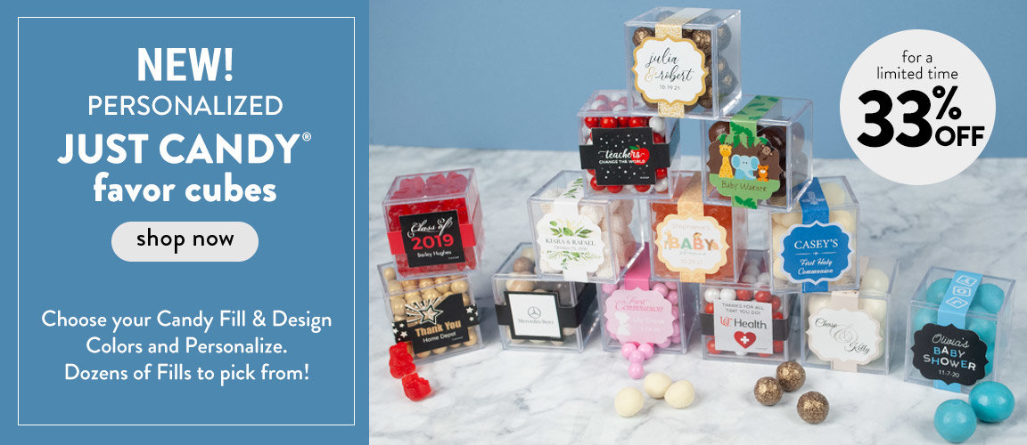 Shop New Pesonalized Just Candy Favor Cubes