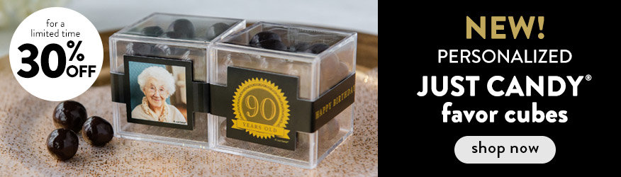 Shop new Personalized JUST CANDY favor cubes