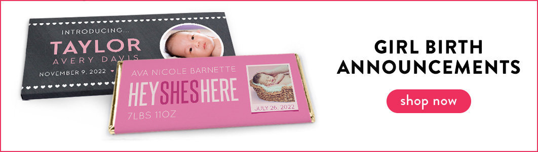 personalized it's a girl birth announcement candy bar wrappers and boxes
