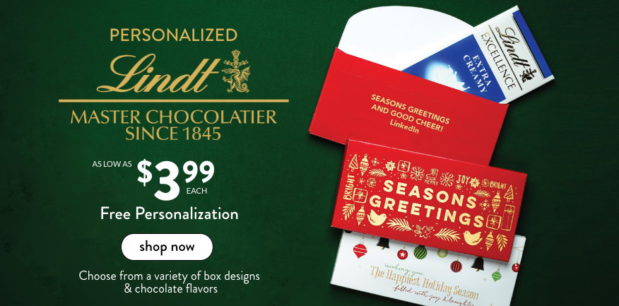 New! Personalized Lindt Chocolate Bars