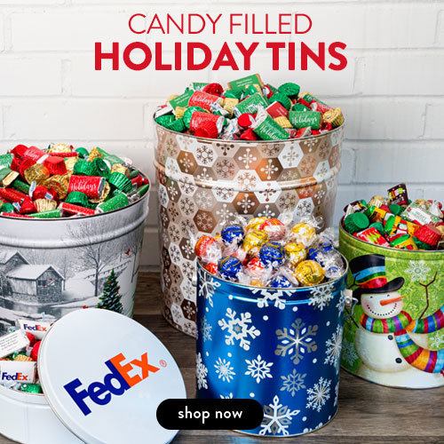 PERSONALIZED CANDY FILLED HOLIDAY TINS