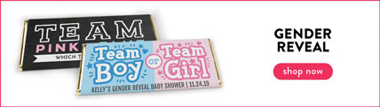 personalized gender reveal candy bar wrappers and boxes