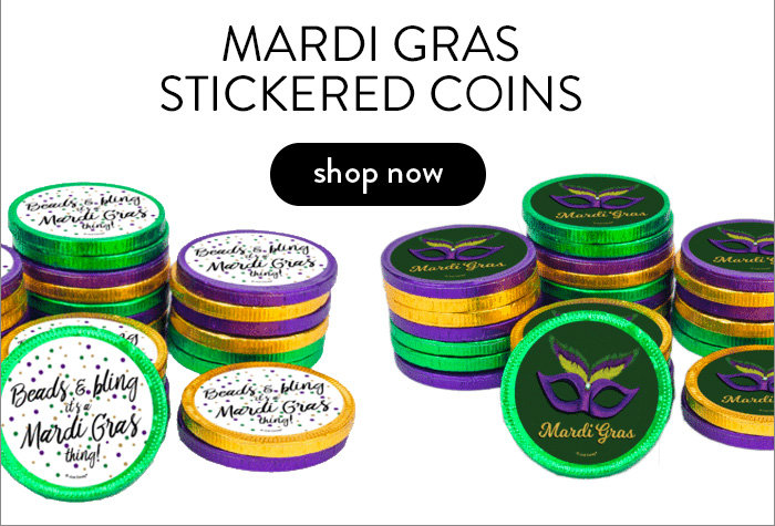 Stickered Chocolate Coins for Mardi Gras