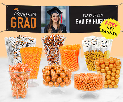 Orange Graduation Candy Buffets