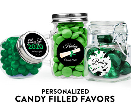 green graduation candy filled favors