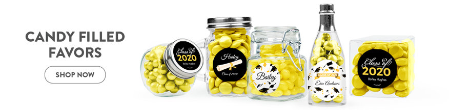 yellow graduation candy filled favors