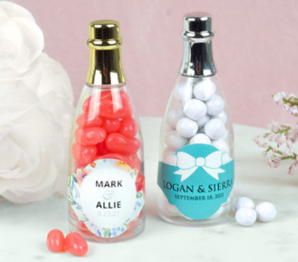Personalized Wedding champagne bottle favors