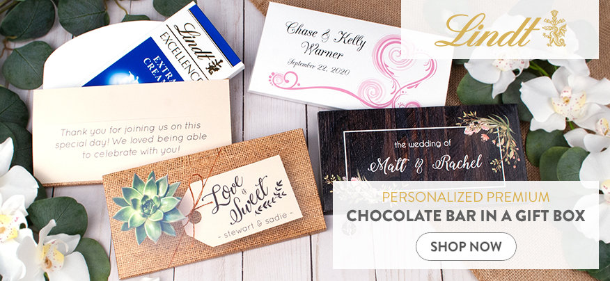 Personalized Wedding Reception Lindt Chocolate Bars