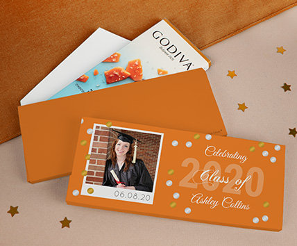 Orange Graduation Godiva Chocolate Bars in a Gift Box