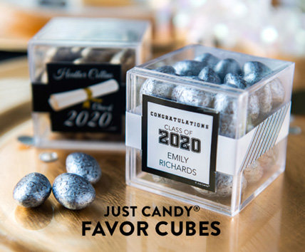 Shop our new Personalized Graduation JUST CANDY favor cube
