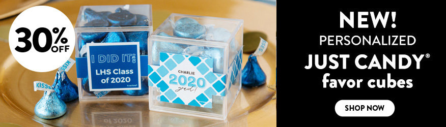 Shop our new Personalized JUST CANDY favor cubes