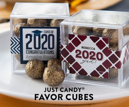 Shop our new Personalized Graduation JUST CANDY favor cubes