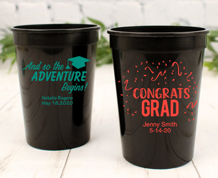 Personalized Black Graduation Cups