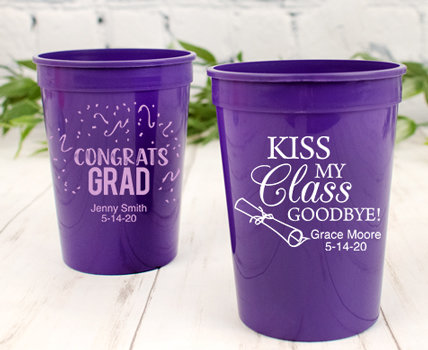 Personalized Purple Graduation Plastic Cups