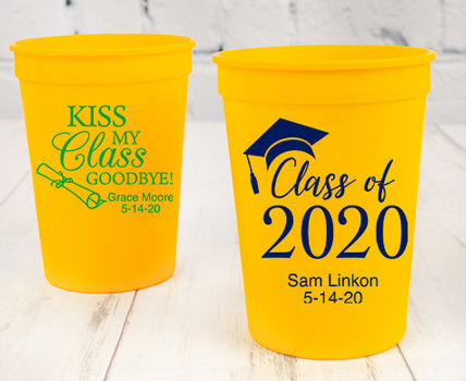 Personalized Yellow Graduation Plastic Cups