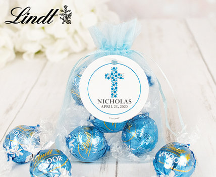 Personalized First Holy Communion Lindt Truffles Organza Bagas