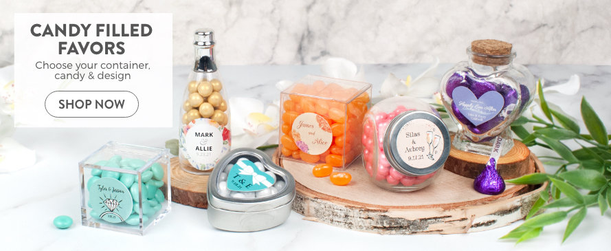 Shop personalized wedding candy filled favors