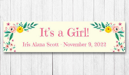 Shop Personalizd 5 foot Girl Birth Announcement Banner